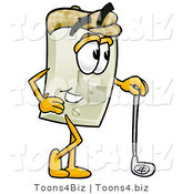 Illustration of a Cartoon Light Switch Mascot Leaning on a Golf Club While Golfing by Toons4Biz