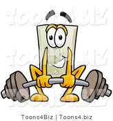 Illustration of a Cartoon Light Switch Mascot Lifting a Heavy Barbell by Toons4Biz