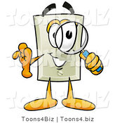 Illustration of a Cartoon Light Switch Mascot Looking Through a Magnifying Glass by Toons4Biz