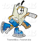 Illustration of a Cartoon Light Switch Mascot Playing Ice Hockey by Toons4Biz