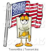 Illustration of a Cartoon Light Switch Mascot Pledging Allegiance to an American Flag by Toons4Biz