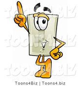 Illustration of a Cartoon Light Switch Mascot Pointing Upwards by Toons4Biz
