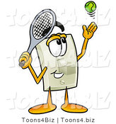 Illustration of a Cartoon Light Switch Mascot Preparing to Hit a Tennis Ball by Toons4Biz