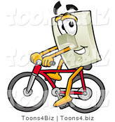 Illustration of a Cartoon Light Switch Mascot Riding a Bicycle by Toons4Biz