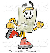 Illustration of a Cartoon Light Switch Mascot Roller Blading on Inline Skates by Toons4Biz