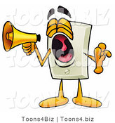 Illustration of a Cartoon Light Switch Mascot Screaming into a Megaphone by Toons4Biz