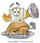 Illustration of a Cartoon Light Switch Mascot Serving a Thanksgiving Turkey on a Platter by Toons4Biz