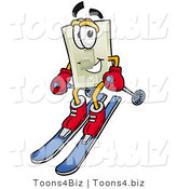 Illustration of a Cartoon Light Switch Mascot Skiing Downhill by Toons4Biz