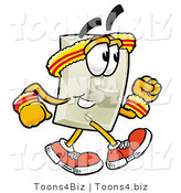 Illustration of a Cartoon Light Switch Mascot Speed Walking or Jogging by Toons4Biz