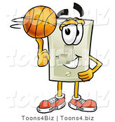 Illustration of a Cartoon Light Switch Mascot Spinning a Basketball on His Finger by Toons4Biz