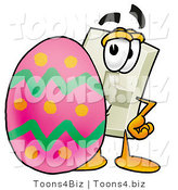 Illustration of a Cartoon Light Switch Mascot Standing Beside an Easter Egg by Toons4Biz