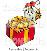 Illustration of a Cartoon Light Switch Mascot Standing by a Christmas Present by Toons4Biz
