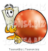 Illustration of a Cartoon Light Switch Mascot Standing with a Christmas Bauble by Toons4Biz