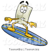 Illustration of a Cartoon Light Switch Mascot Surfing on a Blue and Yellow Surfboard by Toons4Biz