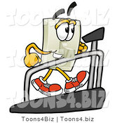 Illustration of a Cartoon Light Switch Mascot Walking on a Treadmill in a Fitness Gym by Toons4Biz