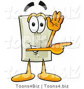 Illustration of a Cartoon Light Switch Mascot Waving and Pointing by Toons4Biz