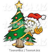 Illustration of a Cartoon Light Switch Mascot Waving and Standing by a Decorated Christmas Tree by Toons4Biz