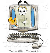 Illustration of a Cartoon Light Switch Mascot Waving from Inside a Computer Screen by Toons4Biz