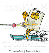 Illustration of a Cartoon Light Switch Mascot Waving While Water Skiing by Toons4Biz