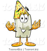 Illustration of a Cartoon Light Switch Mascot Wearing a Birthday Party Hat by Toons4Biz