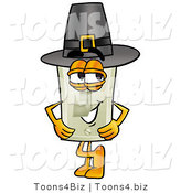 Illustration of a Cartoon Light Switch Mascot Wearing a Pilgrim Hat on Thanksgiving by Toons4Biz