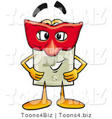 Illustration of a Cartoon Light Switch Mascot Wearing a Red Mask over His Face by Toons4Biz