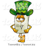 Illustration of a Cartoon Light Switch Mascot Wearing a Saint Patricks Day Hat with a Clover on It by Toons4Biz