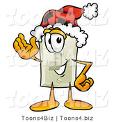 Illustration of a Cartoon Light Switch Mascot Wearing a Santa Hat and Waving by Toons4Biz