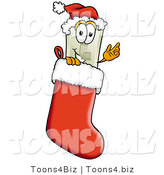 Illustration of a Cartoon Light Switch Mascot Wearing a Santa Hat Inside a Red Christmas Stocking by Toons4Biz