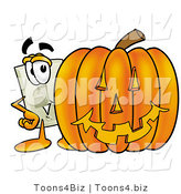Illustration of a Cartoon Light Switch Mascot with a Carved Halloween Pumpkin by Toons4Biz