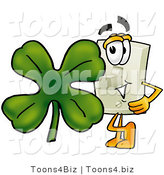 Illustration of a Cartoon Light Switch Mascot with a Green Four Leaf Clover on St Paddy's or St Patricks Day by Toons4Biz