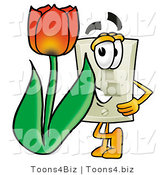 Illustration of a Cartoon Light Switch Mascot with a Red Tulip Flower in the Spring by Toons4Biz