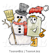 Illustration of a Cartoon Light Switch Mascot with a Snowman on Christmas by Toons4Biz