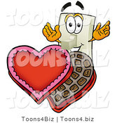 Illustration of a Cartoon Light Switch Mascot with an Open Box of Valentines Day Chocolate Candies by Toons4Biz