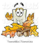 Illustration of a Cartoon Light Switch Mascot with Autumn Leaves and Acorns in the Fall by Toons4Biz