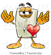 Illustration of a Cartoon Light Switch Mascot with His Heart Beating out of His Chest by Toons4Biz