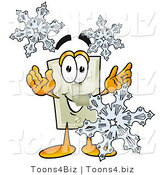 Illustration of a Cartoon Light Switch Mascot with Three Snowflakes in Winter by Toons4Biz