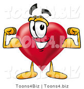 Illustration of a Cartoon Love Heart Mascot Flexing His Arm Muscles by Toons4Biz
