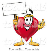 Illustration of a Cartoon Love Heart Mascot Holding a Blank Sign by Toons4Biz