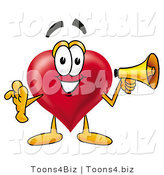 Illustration of a Cartoon Love Heart Mascot Holding a Megaphone by Toons4Biz