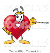 Illustration of a Cartoon Love Heart Mascot Holding a Pointer Stick by Toons4Biz