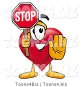 Illustration of a Cartoon Love Heart Mascot Holding a Stop Sign by Toons4Biz