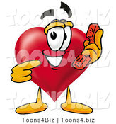 Illustration of a Cartoon Love Heart Mascot Holding a Telephone by Toons4Biz