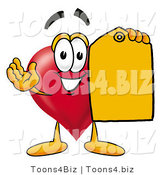 Illustration of a Cartoon Love Heart Mascot Holding a Yellow Sales Price Tag by Toons4Biz