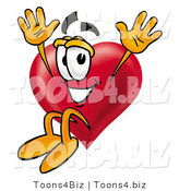 Illustration of a Cartoon Love Heart Mascot Jumping by Toons4Biz