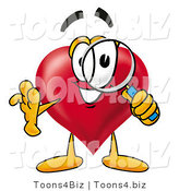 Illustration of a Cartoon Love Heart Mascot Looking Through a Magnifying Glass by Toons4Biz