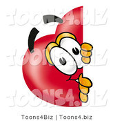 Illustration of a Cartoon Love Heart Mascot Peeking Around a Corner by Toons4Biz