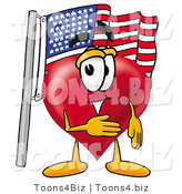 Illustration of a Cartoon Love Heart Mascot Pledging Allegiance to an American Flag by Toons4Biz