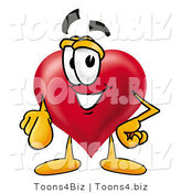 Illustration of a Cartoon Love Heart Mascot Pointing at the Viewer by Toons4Biz