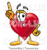 Illustration of a Cartoon Love Heart Mascot Pointing Upwards by Toons4Biz